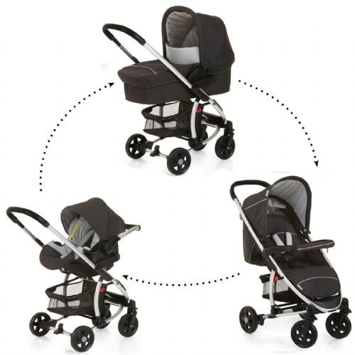 New Hauck Miami 4 Trio 3in1 Travel System Pushchair Pram Carseat Caviar Black/Silver